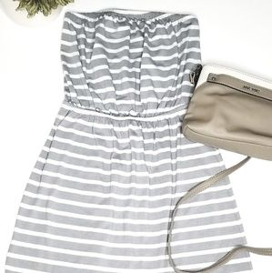 Gray white stripe strapless dress